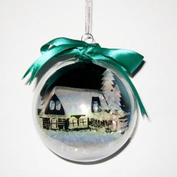 Cottage in the Snow Scene Vinyl Bauble Template